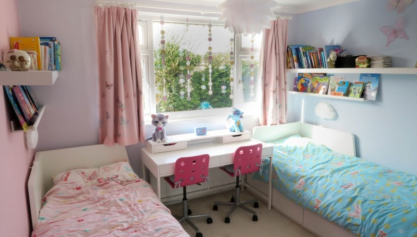 Twin Girls Pink and Blue Bedroom
