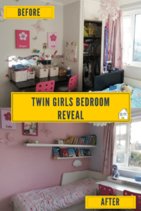 My twin girls bedroom reveal and tour. They have been squeezed into a room since they were born, but now they have a light and airy room, their own space to be themselves, their own colour choices, and much more space. With a pink and blue colour scheme, my twin girls bedroom has been transformed. Much more space, storage issues solved, desk room and a bed that transforms for sleepovers. What more could they want. Take a look at what has been done, and some great space saving solutions.