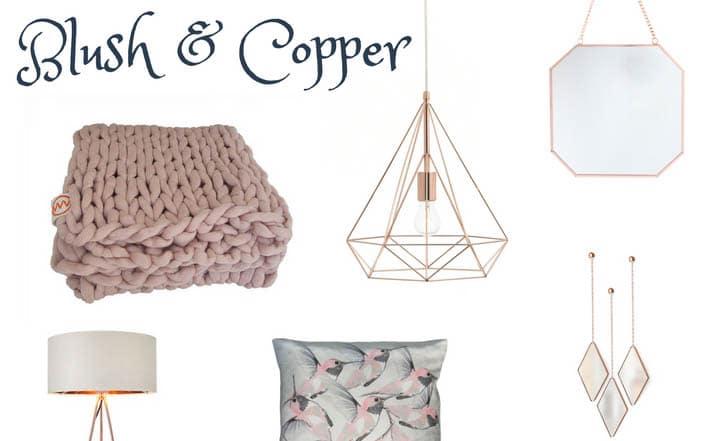 Blush pink and copper are a stunning set of colours to add to your room. With a white base and adding in blush and copper accessoroies you instantly inject some warmth and colour into your bedroom. Blush pink gives you a girly bedroom without being too girly