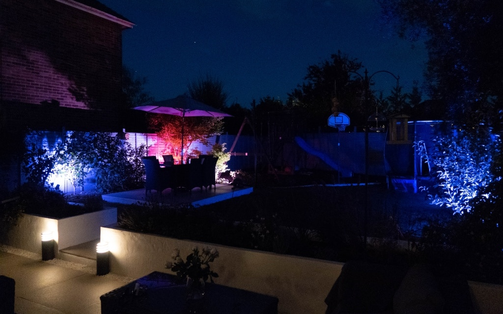 Philips hue smart outdoor lily spot lights in garden